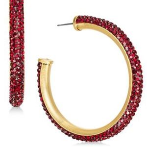 Kate Spade RED Crystal Hoop Earrings-NWT